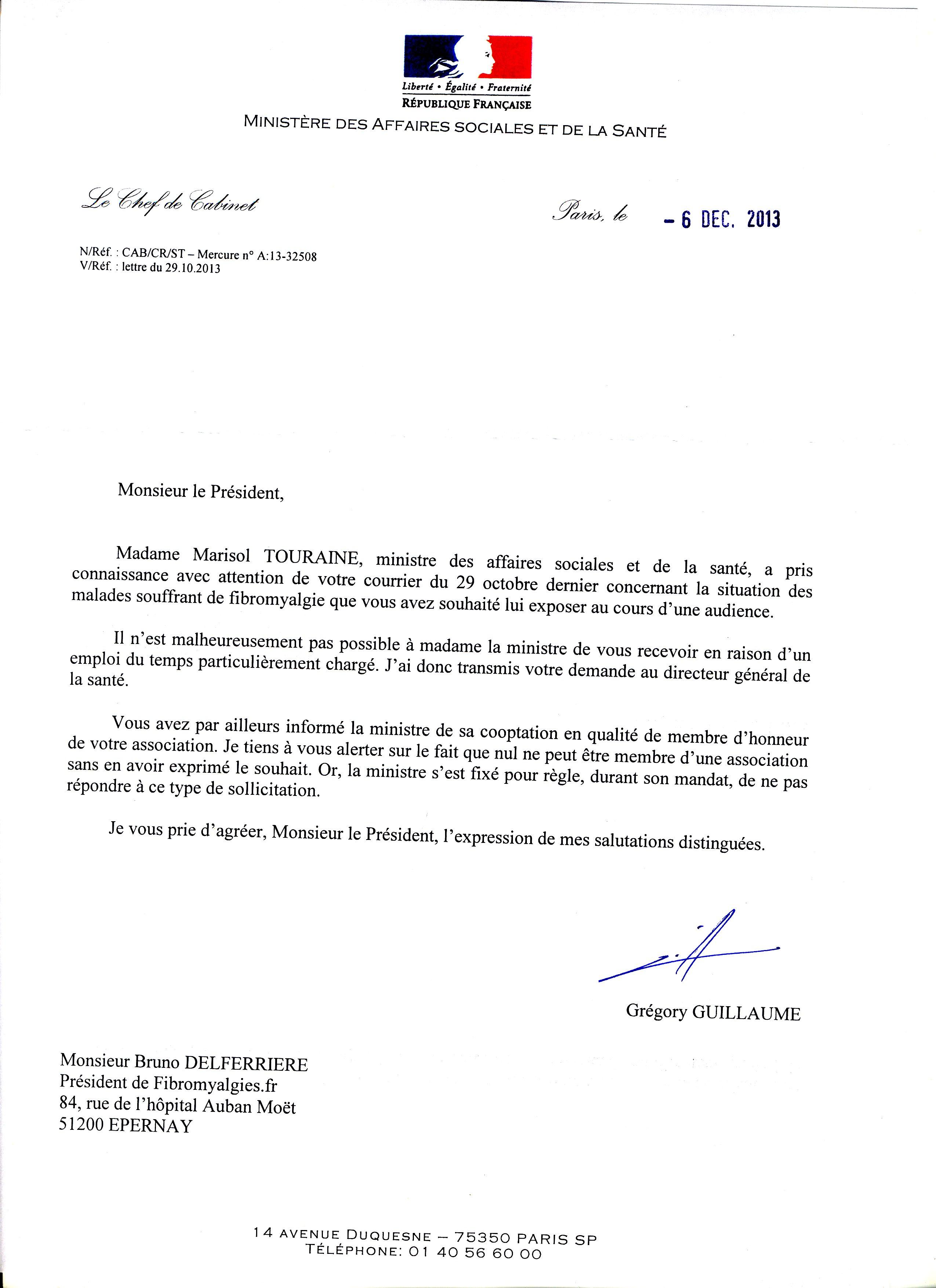 réponse ministre santé 2013