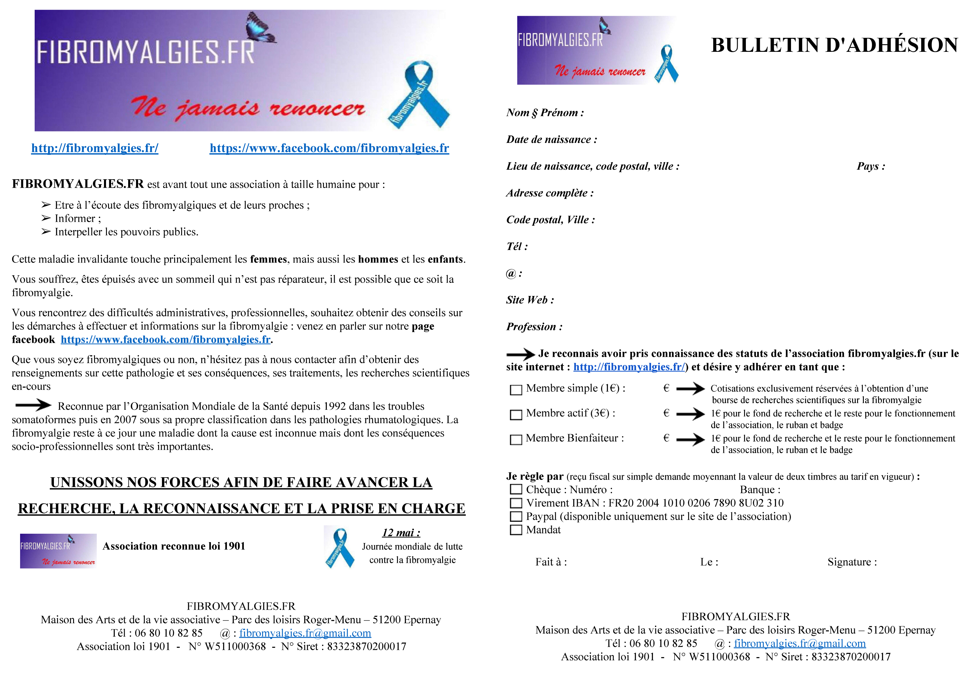 Adhésion à Fibromyalgies.fr